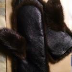Норковые варежки с кожей