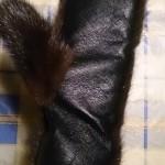Варежки из норки с кожей